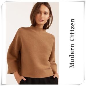 Modern Citizen Candice Swing Ribbed Sweater Tan